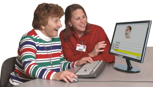 Speech therapist and stroke suvivor working on speech therapy